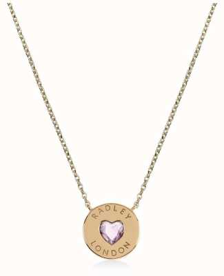 Radley Jewellery Sterling Silver 18ct Gold Plated Heart Disc Necklace RYJ2136
