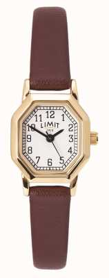 Limit Women's Brown Leather Strap | Gold Plated Case | White Dial 60121