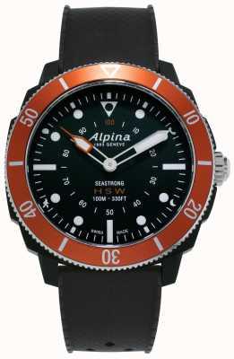Alpina Seastrong | Horological Smartwatch | Black Silicone Strap | Orange Bezel AL-282LBO4V6