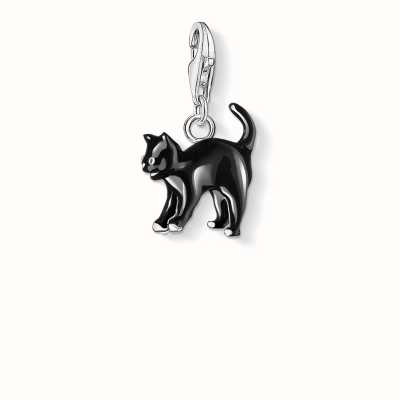 Thomas Sabo Cat Charm Black 925 Sterling Silver Cold Enamel 0701-007-11