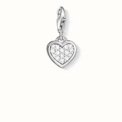 Thomas Sabo Heart Charm White 925 Sterling Silver/ Zirconia 0967-051-14