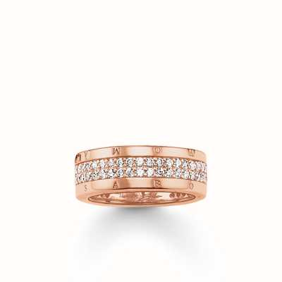 Thomas Sabo Ring White 925 Sterling Silver Gold Plated Rose Gold/ Zirconia TR1987-416-14-54
